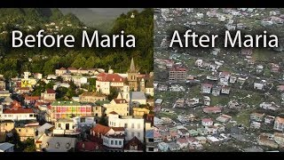 Roseau before and after Hurricane Maria in Dominica, floods, surge, winds, damage,