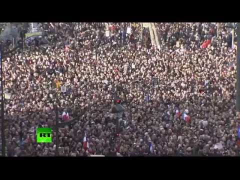 Crowds streaming in for Charlie Hebdo Unity March in Paris