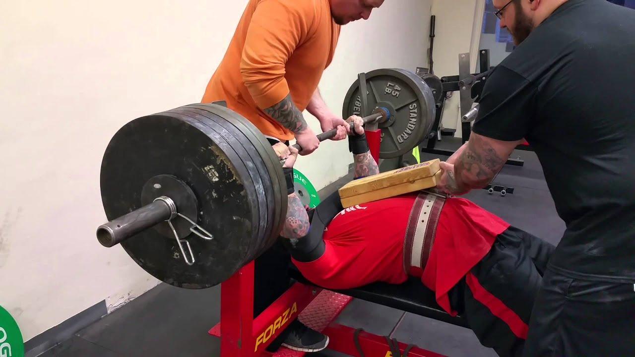 nelson snyder 500lb 2 board bench press - youtube