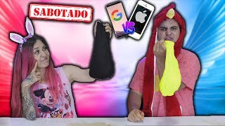 SIRI VS GOOGLE FAZENDO SLIME SABOTADO ( Pretend to play with Slime Challenge) | Maloucos
