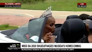 Cheers greet Miss SA 2020 Shudufhadzo Musida's homecoming