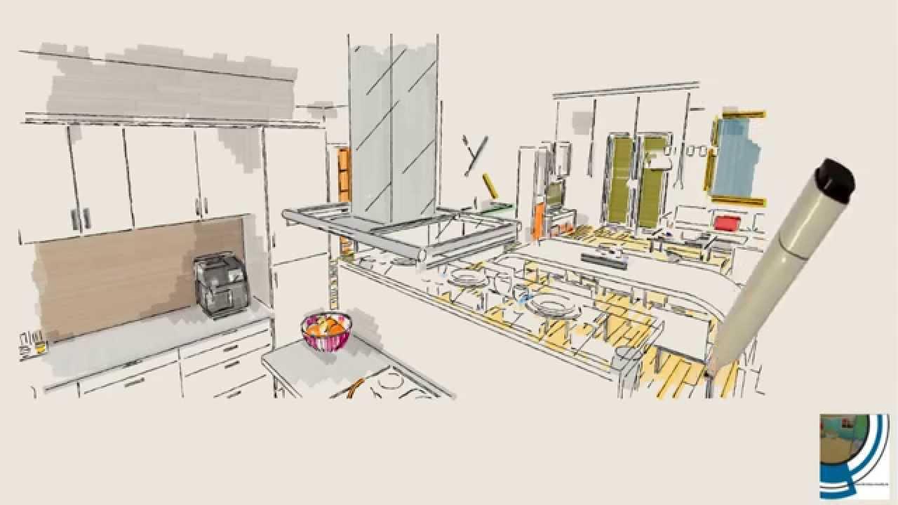 Palette Sketch - Küche-Ess-Wohnzimmer - 3D Rendering - Palette CAD ...