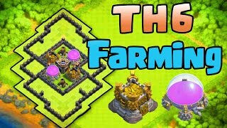 Clash of Clans♦BEST TH6 FARMING BASE|TOWN HALL 6 FARMING BASE WITH 2 AIR DEFENSES