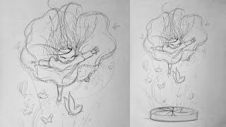 Fille qui vole : Cours de dessin / Apprendre à dessiner