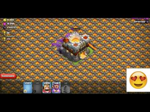 Clash Of Clans Troll-Magic of 700 Wallbreakers Vs Max Walls and Golem & Hogs Walking on the walls!