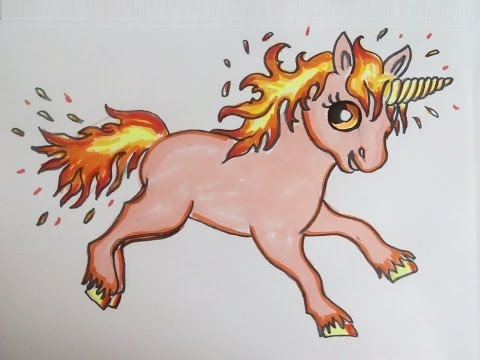 Ein Feuer Einhorn Pferd Malen Lernen Kawaii Oder Chibi Bilder