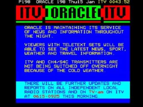 Thames In-Vision Continuity, Closedown and ORACLE Page Junction (15th January 1987)
