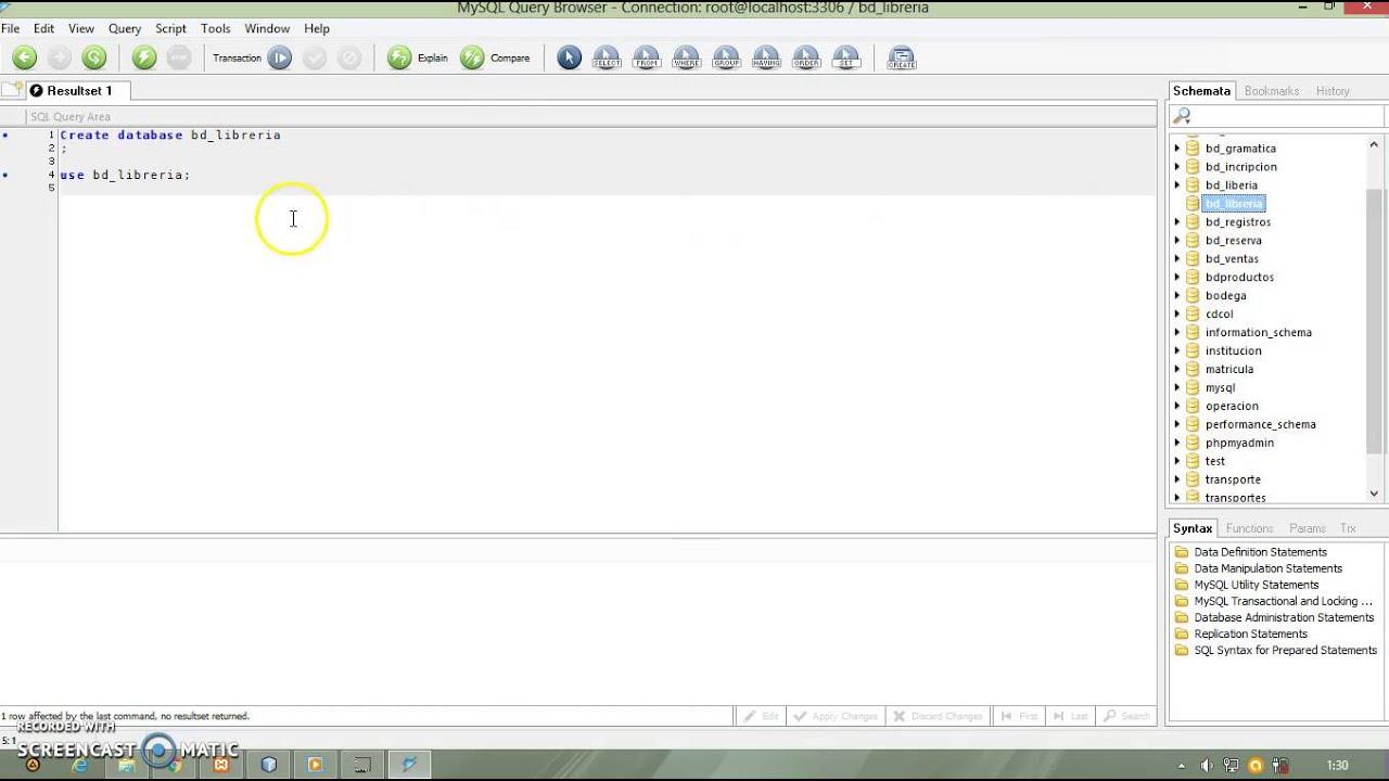 Como crear Base Datos en MySQL Query Browser - YouTube