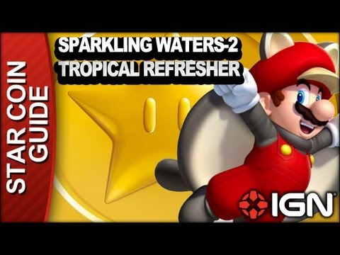 New Super Mario Bros. U 3 Star Coin Walkthrough - Sparkling Waters-2: Tropical Refresher