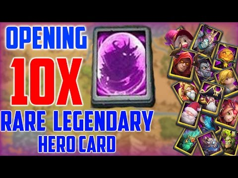 Opening 10 Rare Legendary Hero Card !!!! Castle Clash Rare Legendary Hero Card Opening Insane !!!