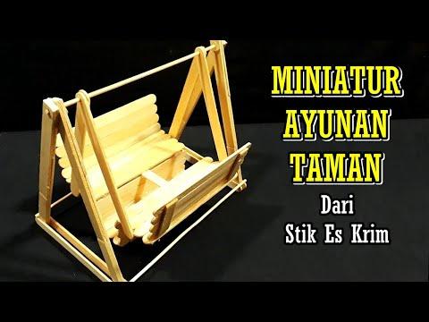 Cara Membuat Miniatur Ayunan Taman dari Stik Es Krim
