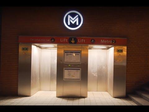 Hungary, Budapet, Puskás Ferenc Stadion metro station, 2X Thyssenkrupp elevator