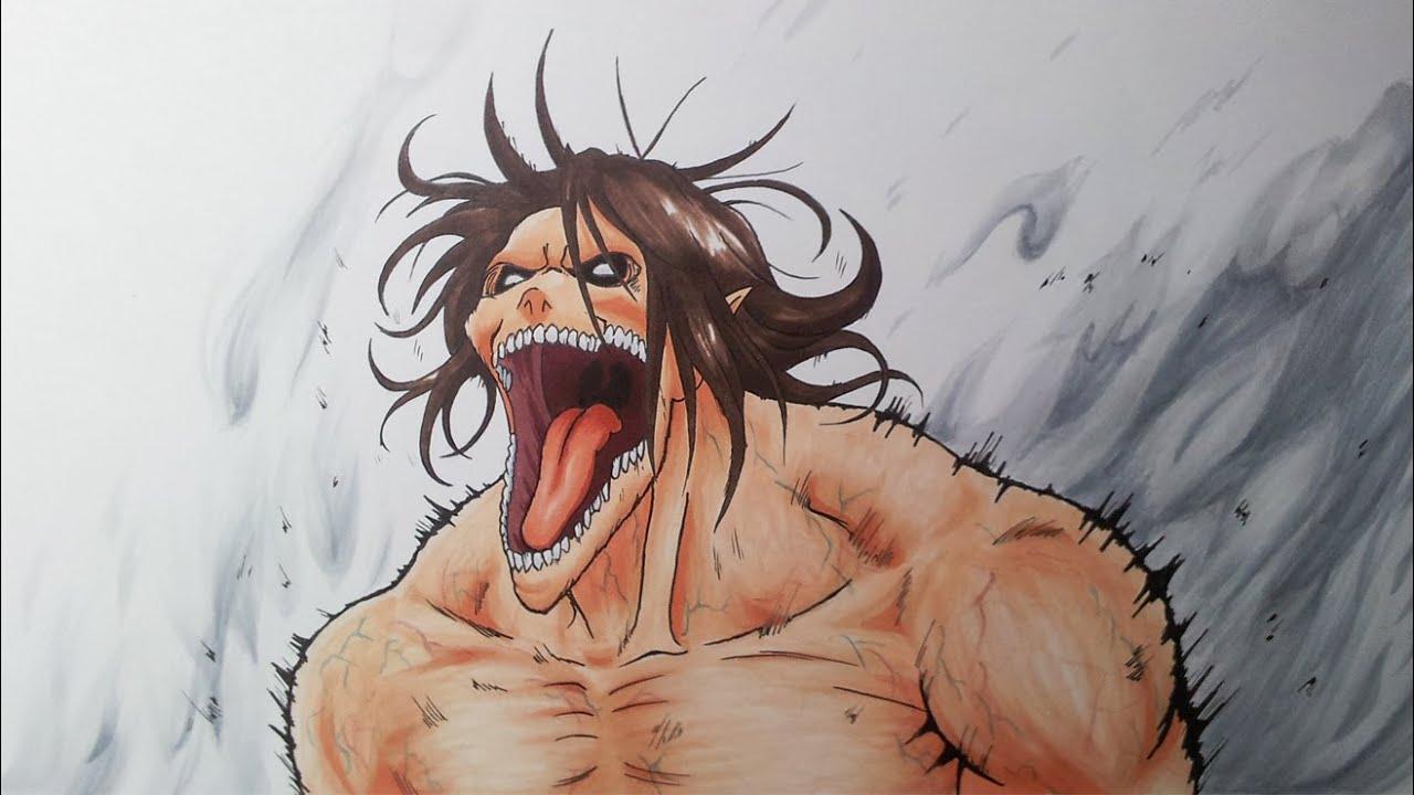 Dibujando A Eren Modo Titan De Shingeki No Kyojin A