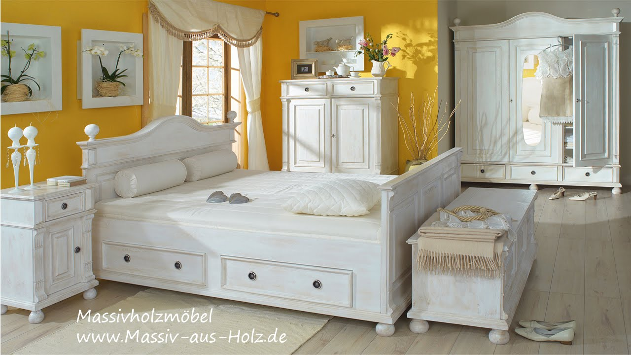 m bel im landhausstil bett mit schubladen in wei youtube. Black Bedroom Furniture Sets. Home Design Ideas