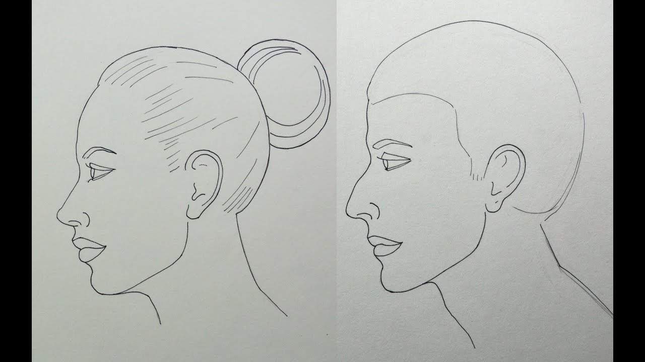 how to draw a face in profile easily male and female youtube