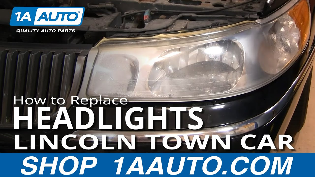 Ford Hid Headlights Wiring Diagram How To Replace Headlights 98 02 Lincoln Town Car Youtube