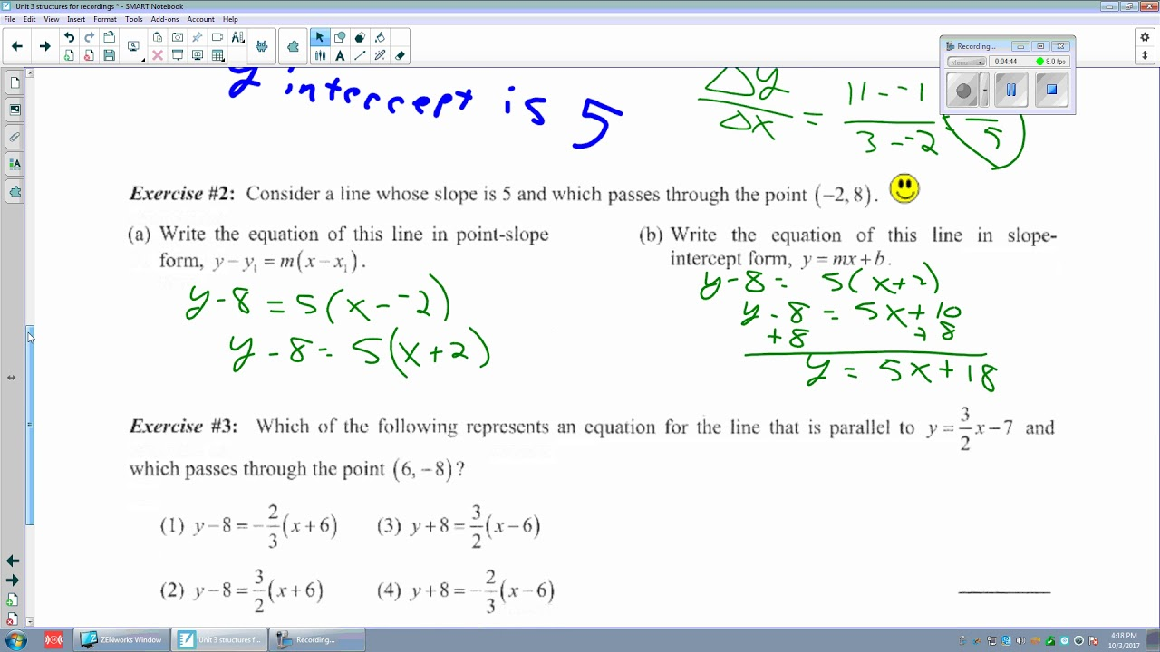 Unit 3 Lesson 3 Point Slope Form Of A Line Youtube