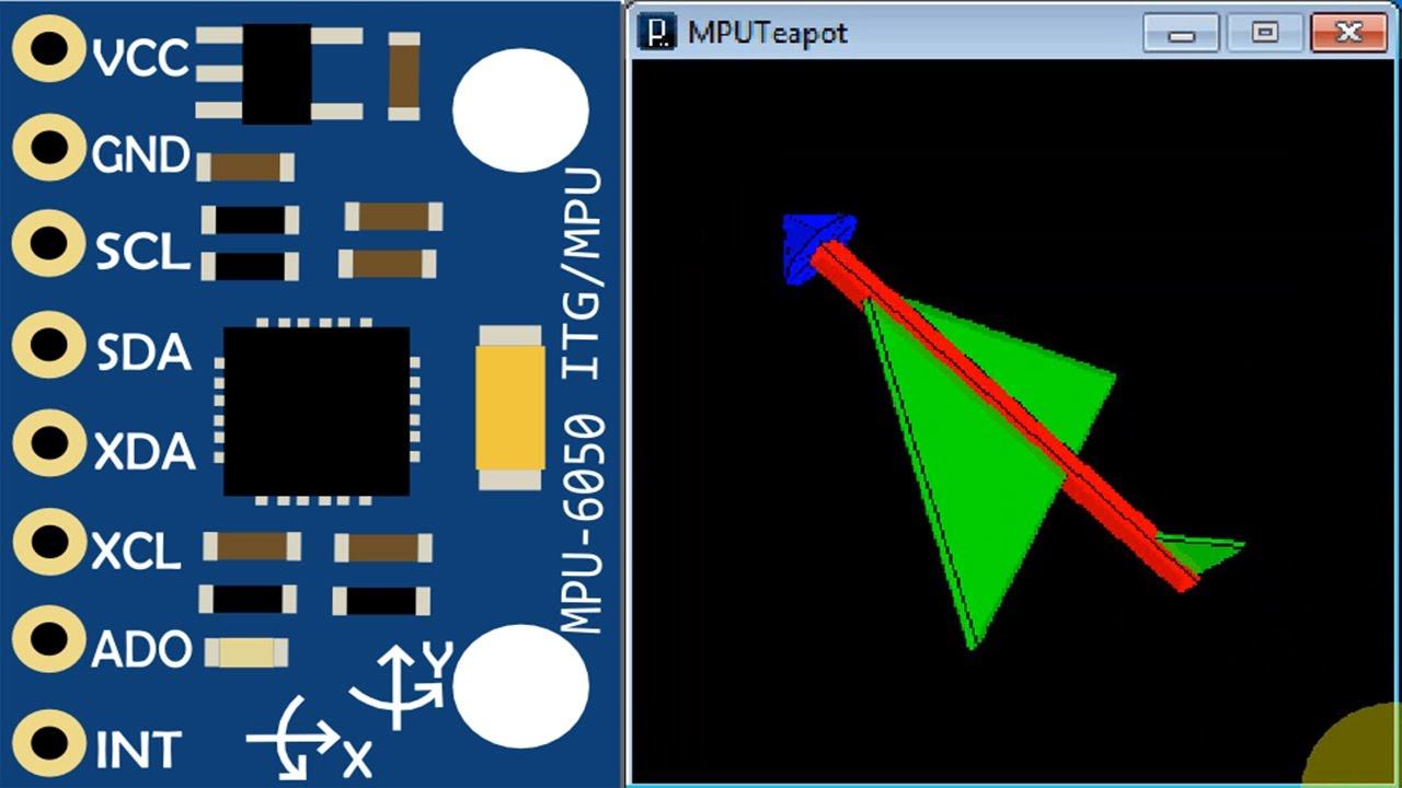 MPU-6050 Gyroscope Teapot demo 3D simulation