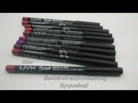 Nyx Suede Matte Lip Liner Swatched With Matching Lip Product Youtube