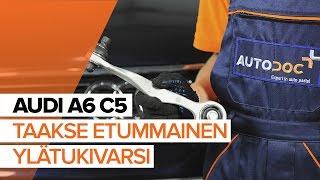 Kuinka vaihtaa taakse etummainen ylätukivarsi AUDI A6 C5 -merkkiseen autoon [OHJEVIDEO]