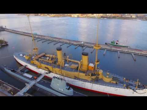 USS Olympia - 4K via Drone