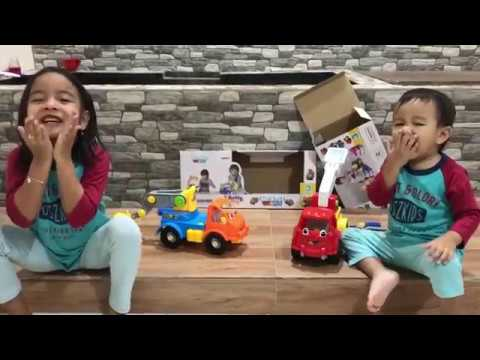 Toys Review Build and Play Fire Truck & Crane | Little Kenzo | Mainan Anak Laki