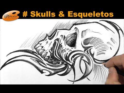 Skulls Caveira Tribal Curso De Desenho Ipstudio Youtube