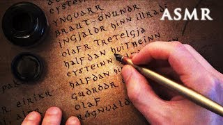 ASMR Dip Pen Calligraphy Writing | Old Norse Myth Kings | Beowulf