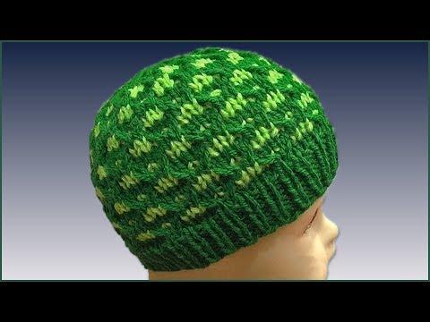 Шапочка зеленая спицами