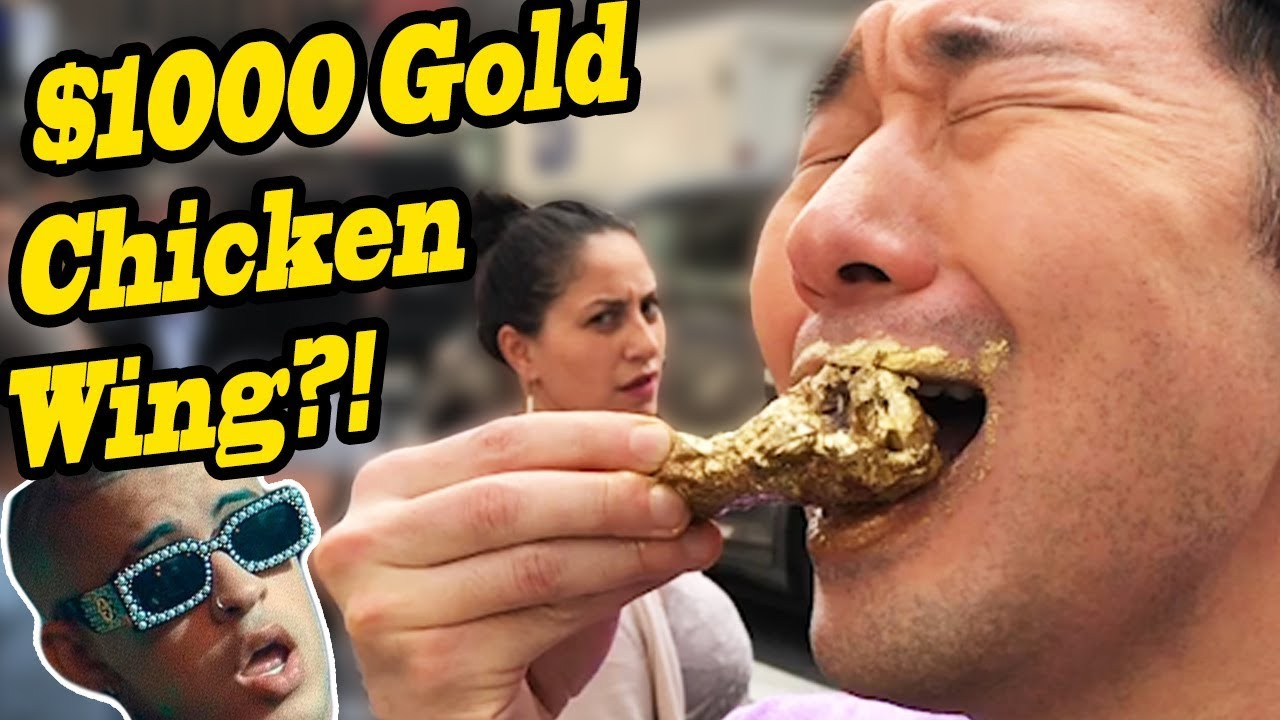 Mukbang 1000 Gold Chicken Wings Vs 5 Chicken Wings Food Challenge Bad Bunny In Public