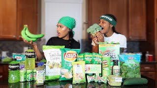 We Only Ate GREEN FOODS For 24 HOURS!! (IMPOSSIBLE CHALLENGE)