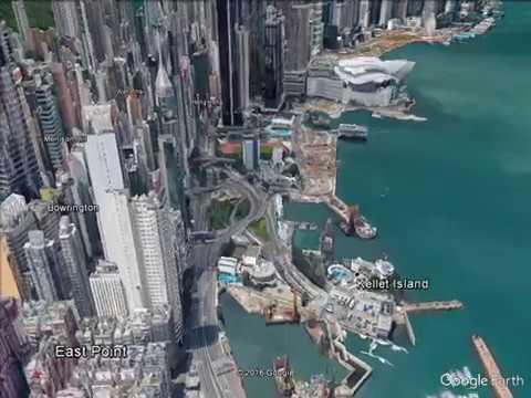 Fly through Hong Kong Beautiful areal view .
