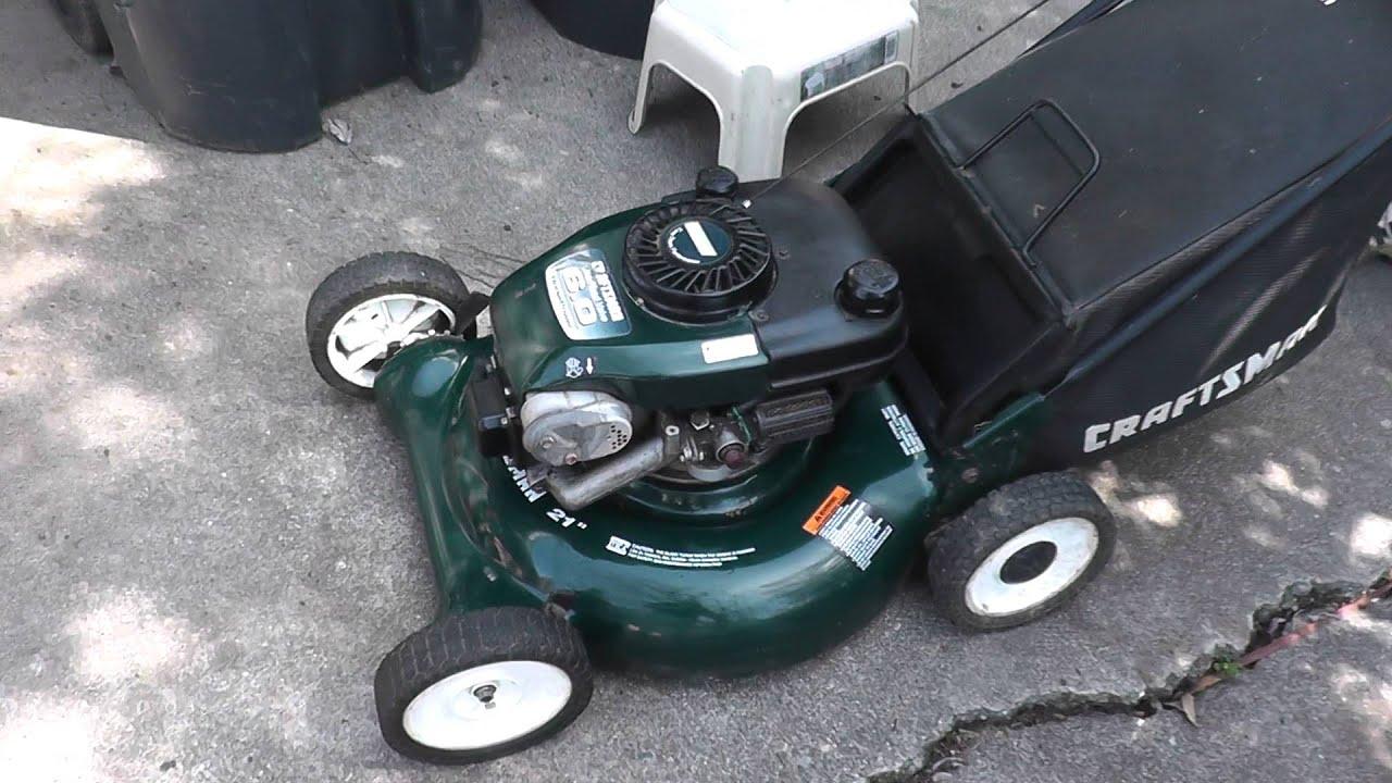 First Pull Start Sears Craftsman Push Lawn Mower Mulcher