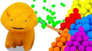 Aprender as cores com Dino o Dinossauro, balas e trens |  Desenho Animado Educativo 🎨🦕