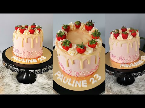 layer-cake-fraises-😍تزيين-لاير-كيك-الفراولة
