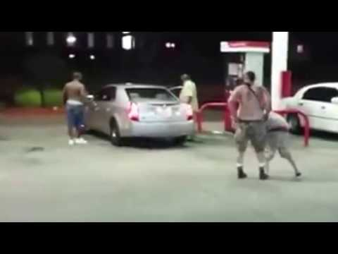 Gas station fist fight white guys gets knock out