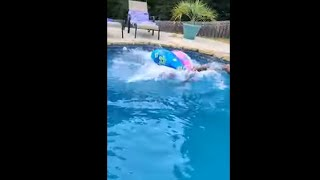 Guy Needed All The Floaters He Can Get To Go Into The Pool