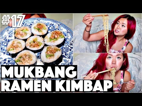 RAMEN KIMBAP MUKBANG Q&A (VEGAN) | #17 (30 Videos in 30 Days) ♥ Cheap Lazy Vegan