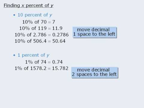 how to find what x percent is of y