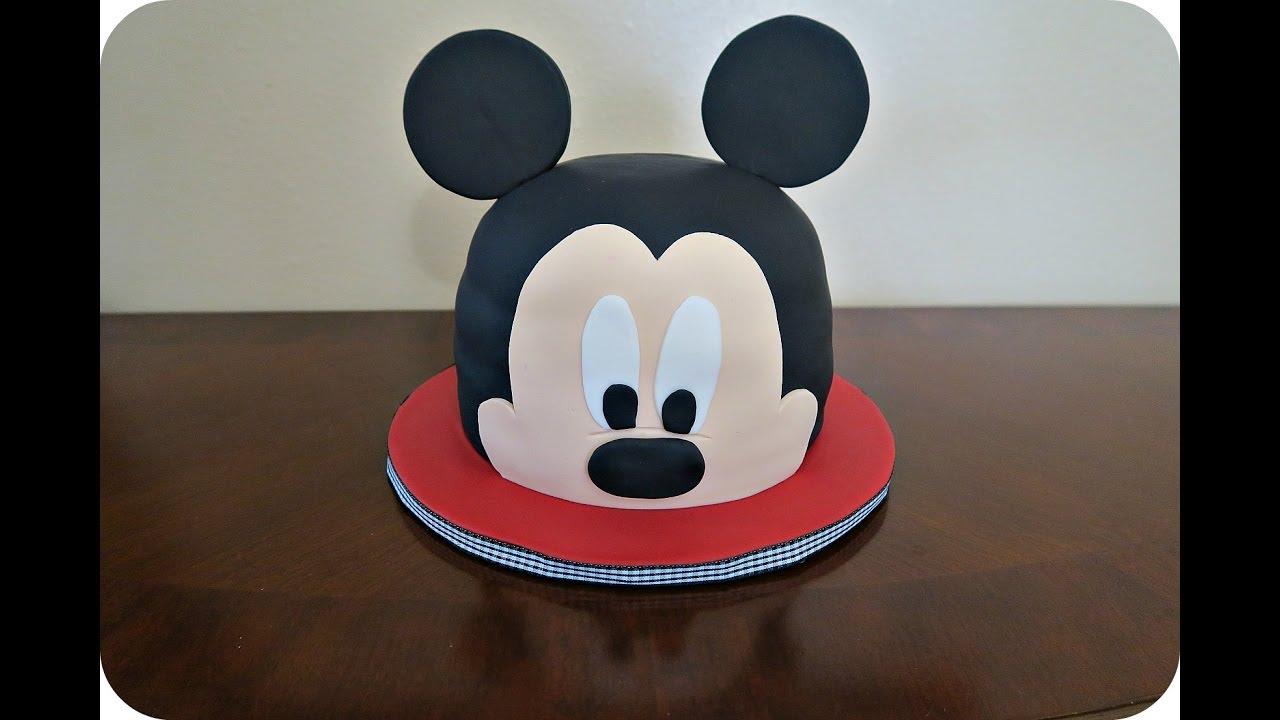 How To Make A Mickey Mouse Head Fondant Cake Youtube