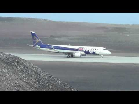 Long landing of Embraer E190 at St Helena Airport on 1st Dec 2016