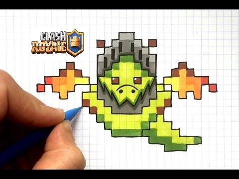 Draw Inferno Dragon Pixel Art Clash Royale