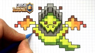 DESSIN DRAGON DE L'ENFER PIXEL ART !! - CLASH ROYALE
