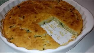 БЫСТРЫЙ Заливной Пирог с зелёным луком и яйцом/ ПОРИСТЫЙ КАК ОМЛЕТ