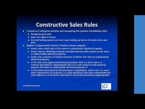 Video clip on Constructive Sales (Section 1259)