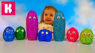 Смешные животные заводные яйца с глазками и блёстками сюрприз игрушки animals toys surprise eggs