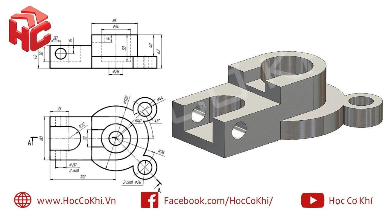 [hoccokhi] Đồ án công nghệ chế tạo máy | Hướng dẫn vẽ chi tiết đề tài số 122