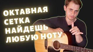 Ноты на гитаре   Октавная сетка поможет запомнить ноты   Урок гитары