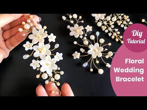 How to Make Bridal Bracelet With Flowers and Pearls. DIY Craft Ideas.