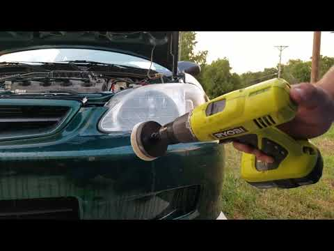 How to properly polish you headlights. (With a drill)